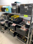 Rack with Office supplies, binders and misc tools and equipment