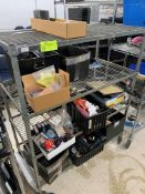 Rack with Office supplies, hot glue gun, stamps, tape dispensers, paper cutter and misc.