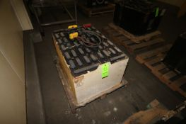 "Forklift Battery, with Yellow Connector, Battery Dims.: Aprox. 38"" L x 26"" W x 22"" H (LOCATED IN"
