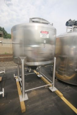 2000 Feldmeier Aprox. 500 Gal. S/S Tank, S/N A-752-00, Dome Top Cone Bottom