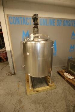 "Aprox. 175 Gal. S/S Vertical Single Wall Tank, Tank Dims.: Aprox. 36"" H x 38"" Dia., with S/S Man"