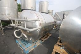 """Aprox. 1,000 Gal. DCI S/S Insulated Vertical Tank, Tank Dims.: Aprox. 77"""" L x 64"""" Dia., with Cone"""