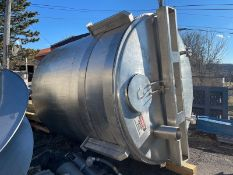 Aprox. 2,000 Gal Vertical Jacketed S/S Tank, with Sloped Flat Bottom, Top Mounted Hinged Manway,