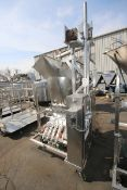 Raque S/S 4-Piston Filler,M/N PF2.5-4, S/N 1000164, with Hopper, 460 Volts, 3 Phase, Mounted on