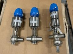 "Lot of (3) NEW GEA 2"" S/S Air Valves,Weld Type, Type NL-IPS2, UD-IPS2 & BAL-IPS2, with Think Tops ("