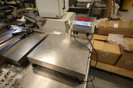OHAUS CORP S/S PLATFORM TABLETOP SCALE, MODEL CHAMP SQUARE CQ50LW, S/N 06473406HF, 50 KG/100LBS MAX,