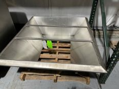 "52"" L x 48"" W Meat Grinder S/S Hopper, Tapersto 27"" L x 21.5"" W, 21"" H, (In Like New Condition), ("