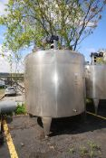 Aprox. 2,000 Gal. Dome Top Cone Bottom Jacketed S/S Mix Tank, with Dimple Interior, Top Mounted