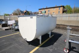 The Creamery Package 1,000 Gal. S/S Farm Tank, MNR-1000 S/N 11218, with Top Mounted Agitation Motor,