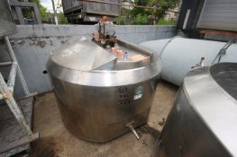 Cherry Burrell 300 Gal. Hinged Lid Jacketed S/SMix Tank, M/N WPT, S/N 300-56-3753, with Bottom Sweep