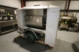 Double Wall Single Arm S/S Dough Mixer, with15/60 hp Bottom Mounted Motor, 885/1775 RPMs, with On