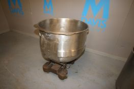"""S/S Mixing Bowl,Internal Dims.: Aprox. 32-1/2"""" Dia. x 26-1/2"""" Deep, Mounted on Portable Cart (INV#"""