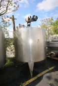 Aprox. 1,000 Gal. Dome Top Cone Bottom JacketedS/S Mix Tank, with Dimple Interior, Top Mounted