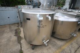 Aprox. 200 Gal. Hinged Lid S/S Jacketed Mix Tank,with Top Mounted Drive Motor with Bottom Sweep