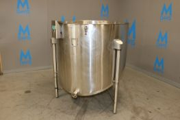 """Cherry-Burrell S/S Single Wall/Slope Bottom Tank,with Aprox. 3"""" Clamp Type Discharge, Top Dia.:"""