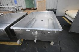 """Portable S/S Cheese Drain Table,3"""" Clamp Type Bottom Connection, Internal Dims.: 70"""" L x 44"""" W x 16"""""""