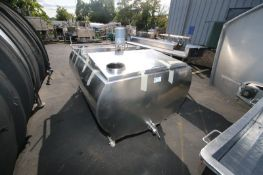 Approximately 300 gallon capacity S/S freon jacketed storage tank, center bridge with (2) lift up
