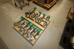 """(11) S/S Butterfly Valves,Including (6) Aprox. 3"""" Clamp Type, (4) Aprox. 4"""" Clamp Type, & (1) 6"""""""