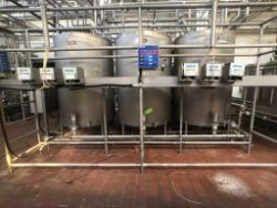 "Sani-Matic 3-Tank Skid Mounted S/S CIP System, with Aprox. 700 Gal (78?"" H x 53?"" W) S/S Tanks, S/"