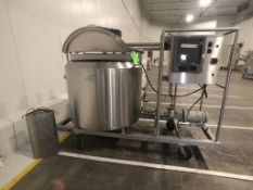 FELDMEIER 316L S/S SKID-MOUNTED BUTTER MELTING PROCESSOR TANK, S/N E61008, INCLUDES WHIP STYLE TOP