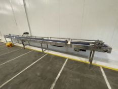 "APPROX. 300"" L X 12"" W S/S FRAME CONVEYOR WITH LITTLE DAVIS MICROJET INK DATE CODER"