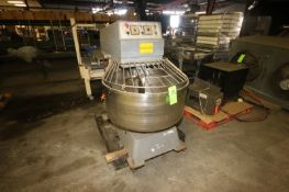 """Dough Mixer, with S/S Bowl & S/S Doug Hook, Bowl Dims.: Aprox. 36"""" Dia., Mounted on Frame (LOCATED"""