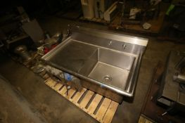 """S.S.P. Inc. S/S Sink with Side Counter, Overall Dims.: Aprox. 49-1/2"""" L x 27"""" W x 25"""" Tall ("""