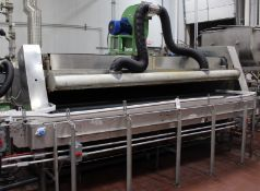 """INH 30' L x 15' W S/S Single Deck Pasteurized Conveying Cooling - Heating Tunnel with 15"""" Bottle"""