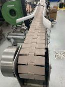 "Garvey Aprox. 4.5 ft. x 11.5 ft. L-Shaped Conveyor with 4.5"" Plastic Chain, Side Rails, Leg"