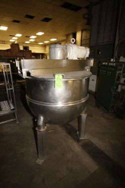 Groen 150 Gal. S/S Kettle, M/N N 150 SP, S/N 10153, MAX. Allow W.P. 100 PSI, MAX. Allow Temp. 338 F,