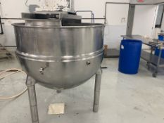 "Groen 200 Gal. S/S Tank with Steam Jacket, Sweep with 3"" Tri-Clover Fitting at Bottom Outlet, 3 hp"
