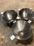 """Stainless Steel Funnels. 25"""" Diameter. Qty 3. As shown in photos. (Located Central New York)"""