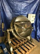 Used Aprox. 50 Gal. Polished S/S Hemi Botom Kettle with Self-Contained Electric/Hot Oil Jacket,