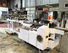 FMC Campbell Horizontal Flow Wrapper, Model 2201, S/N 2200-2304 with (2) Universal Labelers, Model