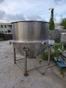 Lee 750 Gal. S/S Steam Jacketed Kettle, Model 750D9MS, S/N ____________ Aprox. Rated at 90 psi (