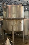 """500 Gallon (approx.) Stainless Steel Single Wall Tank- 38 diameter, 70"""" straight side, dome shape"""