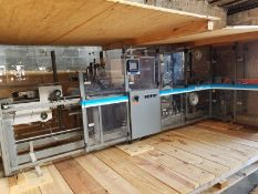 Scandia 609 over wrapper Packaging machine, S/N 1-6721, touchscreen display, heat shrink tunnel,