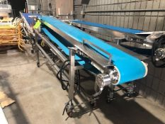 """Slight Incline S/S Straight Conveyor, with Aprox. 10"""" W Blue Belt, Belt to Floor Dims.: Aprox. 36"""""""