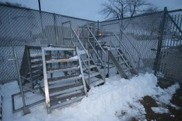 """S/S Portable Stairs & Crossover Platform, 2-Aprox. 45"""" H with Stairs & Hand Rails, 1-Cross Over,"""