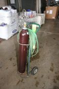 """Vertical Argon Compressed Air Cylinder, with Hose & Portable Cart, Cylinder Aprox. 42"""" H (LOCATED IN"""