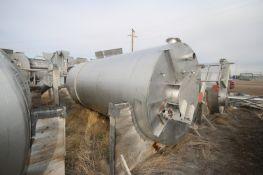 "Aprox. 2,500 Gal. S/S Vertical Waste Water Treatment Tank, Tank Dims.: Aprox. 172"" L x 70"" Dia.,"