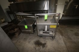 Wright S/S Shelf Dumping Hopper, with Tilt Capability, Mounted on S/S Portable Frame, with 1-S/S
