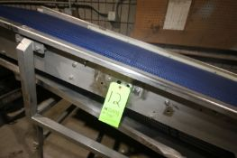 """S/S Incline Conveyor, with Aprox. 34"""" Plastic Belt, High Point to Floor: Aprox. 50"""" H, Mounted on"""