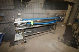 """Straight Section of S/S Conveyor, with Aprox. 10"""" W Blue Belt, Overall Dims.: 114"""" L x 24"""" W x 50"""""""