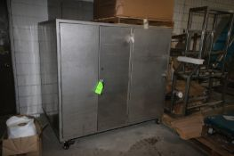 """3-Door S/S Portable Cabinet, Overall Dims.: Aprox. 73"""" L x 53"""" W x 68"""" H (LOCATED IN APPLETON,"""