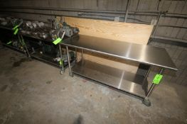 """S/S Tables, Overall Dims.: 1-Aprox. 60"""" L x 30"""" W x 33-1/2"""" H & 1-Aprox. 72"""" L x 30"""" W x 34"""" H, with"""