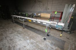 """S/S Straight Section of Conveyor, with Aprox. 12"""" W Plastic Interlock Belt, Overall Dims.: Aprox."""