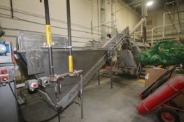 Incline Cleated Conveyor, with S/S Infeed Hopper & Top Slicing System, Belt Dims.: Aprox. 16' L x