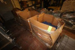 "3-Gaylord Boxes of Blue Plastic Interlock Conveyor Belt, Aprox. 34"" W, Bundles Plastic Conveyor"