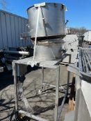 "Vibratory shaker 24 in depth 39 in diam mounted on s/s frame with casters, frame dim appx 40"" x"